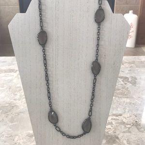 Chico's Gunmetal and Smoky Glass Quartz Necklace